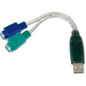 Digitus USB-PS-2 Toetsenbord-muis Aansluitkabel 0.10 m Transparant