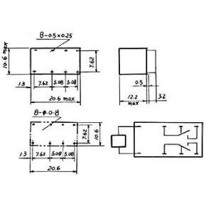Image of Dil Relais 1a/30vdc-125vac 2 X Wissel 12vdc