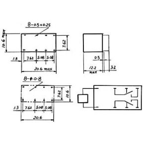 Image of Dil Relais 1a/30vdc-125vac 2 X Wissel 24vdc