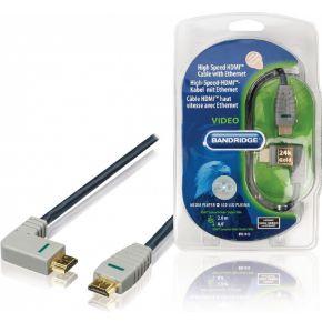 High Speed Hdmi-kabel Met Ethernet Hdmi-connector Hdmi-connector (rechts-gehoekt) 2,0 M Blauw