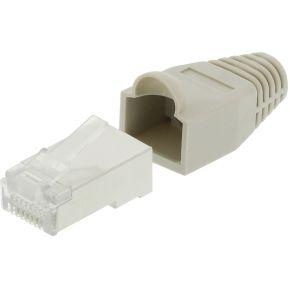 Netwerk connector RJ45 male CAT5 incl. trekontlasting grijs 10 st