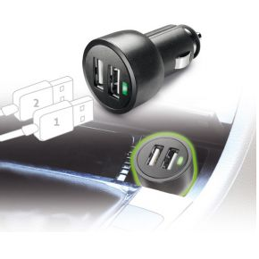 USB Dual Car Micro Charger 3A