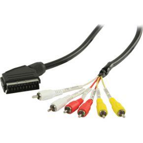SCART RCA kabel SCART mannelijk 6x RCA mannelijk 2,00 m zwart
