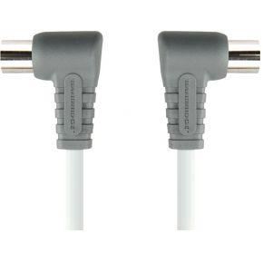 Image of 100 DB Coaxkabel Haaks Coax Male (IEC) - Coax Female (IEC) 2.00 M Wit