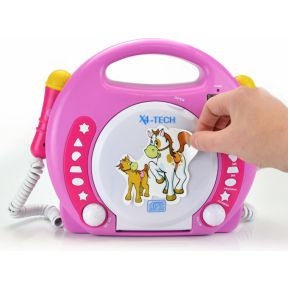 Image of X4 Tech Bobby Joey MP3 Kinder CD-speler CD, SD, USB Incl. microfoon Roze