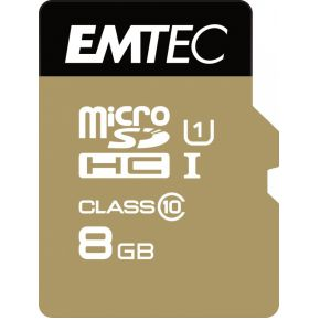 Emtec SD MicroSD Card 8GB Emtec  SDHC CL.10 inkl. Adapter Gold (ECMSDM8GHC10GP)