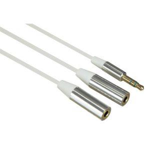 Image of Splitter Kabel 3.5 Mm Stereo Mannelijk Naar 2 X 3.5 Mm Stereo Vrouwelijk Met Flexibele Platte Mantel