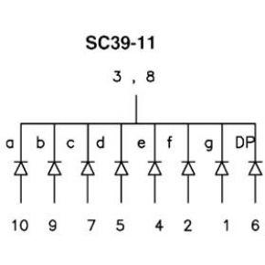 Image of 1-digit Display 10mm Gemeenschappelijke Kathode Groen