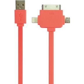 Image of 3-IN-1 USB 2.0-LAAD-/SYNCHRONISATIEKABEL - MANNELIJK/MANNELIJK - FLUOR