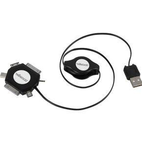 Image of 6-IN-1 ZELFOPROLLENDE USB 2.0-LAADKABEL - MANNELIJK/MANNELIJK - ZWART