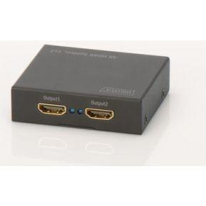 Image of 2 poorten HDMI-splitter Digitus DS-46304 3D-weergave mogelijk, metalen behuizing 4096 x 2160 pix Zwart