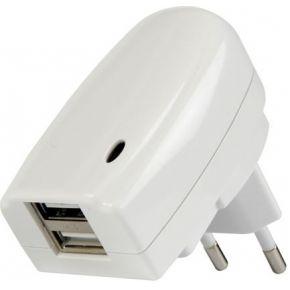 Oplader dubbel USB 5 volt verticaal wit
