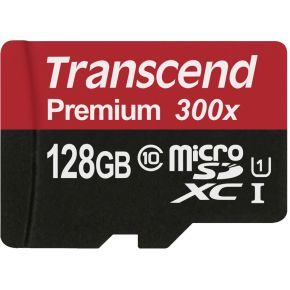 Transcend 128 GB microSDXC-kaart Class 10, UHS-I incl. SD-adapter