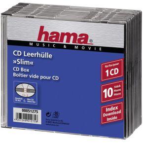 Image of 1x10 Hama CD-hoezen Slim-Line transp./zwart 51275