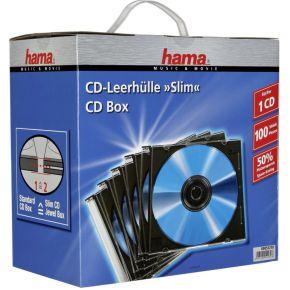 Image of 1x100 Hama CD-cases Slimpack zwart 51270