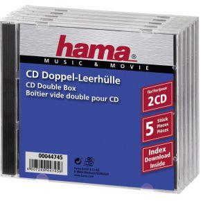 Image of 1x5 Hama dubbel-CD cases leeg 44745