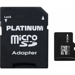 Platinum 8 GB microSDHC-kaart Class 10 incl. SD-adapter