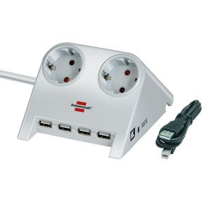 Desktop-Power stekkercontactdoos met USB, wit