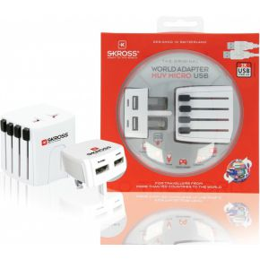 World Travel Adapter, 2-pole, with UK USB charger 2.1A