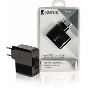 Universele USB lader met dubbele poort 1 A en 2,4 A