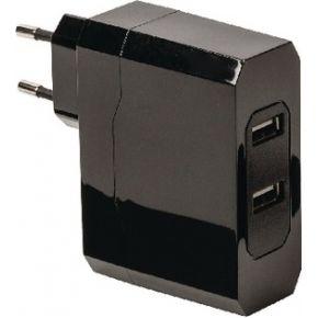 Universele USB lader met dubbele poort, 2.4 A en 2.4 A