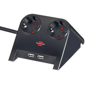 Brennenstuhl Stekkerdoos zonder schakelaar 1153500222 1.80 m Met USB, Kinderbeveiliging Zwart