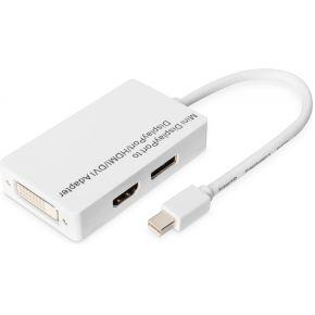 DisplayPort-HDMI-DVI Adapter [1x Mini-DisplayPort stekker => 1x DisplayPort bus, HDMI-bus, DVI-bus 2