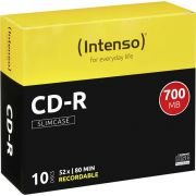 1x10 Intenso CD-R 80 / 700MB 52x Speed. Slimcase