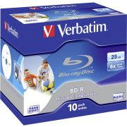 1x10 Verbatim BD-R Blu-Ray 25GB 6x Speed. printable. Jewel Case