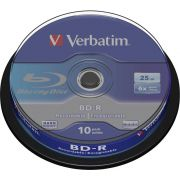 1x10 Verbatim BD-R Blu-Ray 25GB 6x Speed. wit blauw Cakebox
