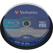1x10 Verbatim BD-R Blu-Ray 50GB 6x Speed. wit blauw Cakebox