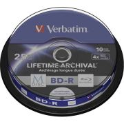 1x10 Verbatim M-Disc BD-R BluRay 25GB 4x Speed Cakebox printable