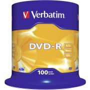 1x100 Verbatim DVD-R 4.7GB 16x Speed. mat zilver