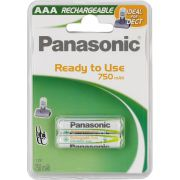 1x2 Panasonic Accu NiMH Micro AAA 750 mAh Ready to Use DECT
