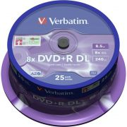 1x25 Verbatim DVDR double layer 8x Speed. 8.5GB mat zilver