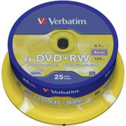 1x25 Verbatim DVD-RW 4.7GB 4x Speed. Mat zilver