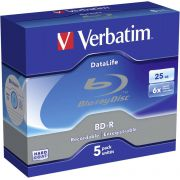 1x5 Verbatim BD-R Blu-Ray 25GB 6x Speed Datalife No-ID Jewel