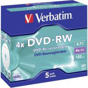 1x5 Verbatim DVD-RW 4.7GB 4x Speed. Jewel Case