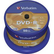 1x50 Verbatim DVD-R 4.7GB 16x Speed. Mat zilver