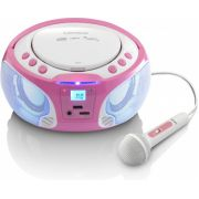 Lenco SCD-650 Karaoke Radio/CD-speler in Roze met partylight