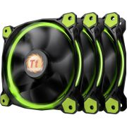 Thermaltake Riing 12 High Static Pressure LED Radiator Fan (set van 3) Groen, 120mm