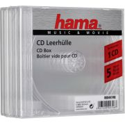 1x5 Hama CD-Box transparant Jewel-Case 44748