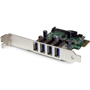 StarTech.com 4-poorts PCI Express PCIe SuperSpeed USB 3.0 controllerkaartadapter met UASP SATA-voedi